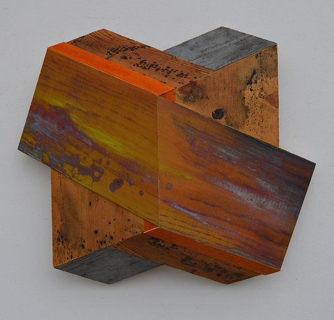 Melinda Rosenberg Board Series aniline dyes and paint on pine and found wood,