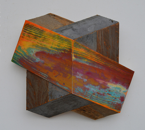 Melinda Rosenberg Board Series  aniline dyes and paint on pine and found wood