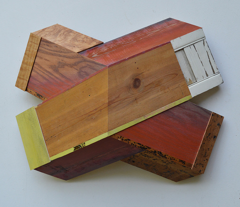 "Melinda Rosenberg ""X's"" aniline dyes and paint on ash, pine, curly maple and shutter"