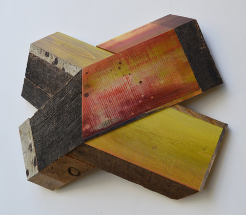 "Melinda Rosenberg ""X's"" paint on pine, maple and found wood"