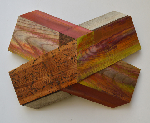"Melinda Rosenberg ""X's"" aniline dyes and paint on ash, found wood"