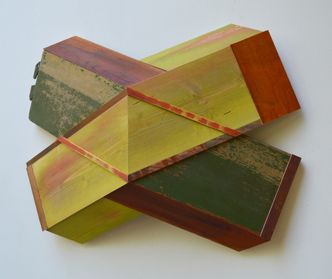 "Melinda Rosenberg ""X's"" paint on pine, bed rail and found wood"