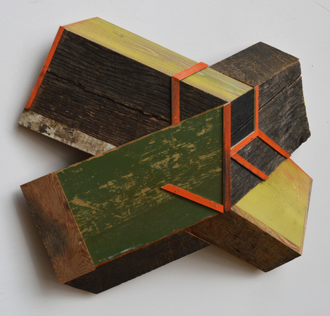 "Melinda Rosenberg ""X's"" paint on pine and found wood"