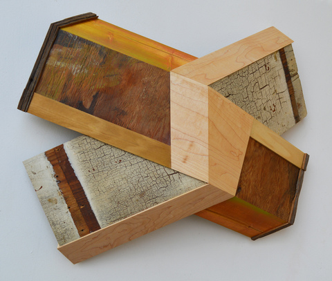 "Melinda Rosenberg ""X's"" paint on pine, old shelving, plywood and maple"