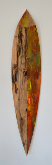 Melinda Rosenberg Boats aniline dyes and paint on pine and barn siding