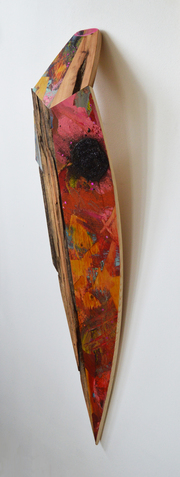 Melinda Rosenberg Boats glitter and paint on pine and reclaimed barn wood