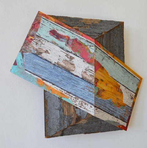 Melinda Rosenberg Board Series  paint, glitter and wall paper on pine and found wood