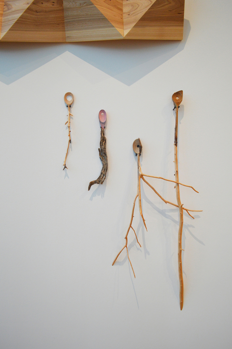 Melinda Rosenberg Bent Tool Series wooden spoons, sticks, paint