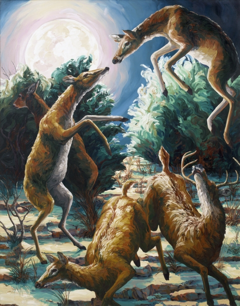 Oils Deer Dance