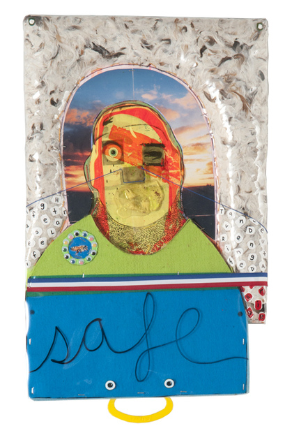MIKE SHULTIS Fluff (2013) Oil, Acrylic, Photo Collage, String, Feathers, Fabric, Found Board, Vinyl, Lacoste Headband, Liquid Nail and My Wisdom Teeth on Canvas
