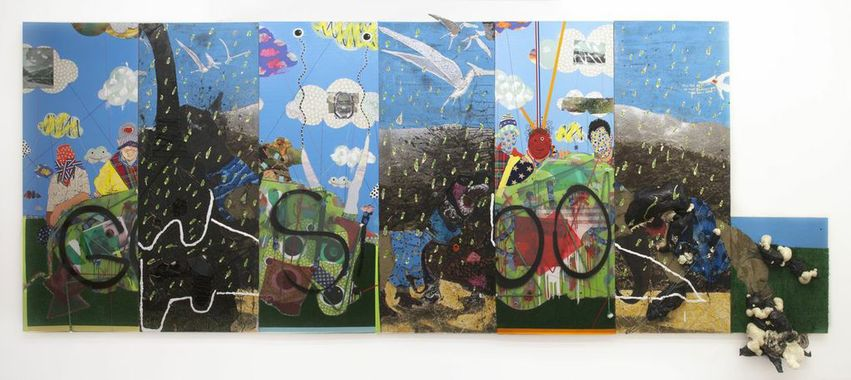 MIKE SHULTIS Fowler/Shultis Mixed Media on 7 Separate Panels