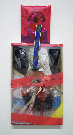 MIKE SHULTIS The 100 (2013-14) Oil, Acrylic, Found Shredded Paper, Photo Collage, Wood, Aluminum Foil, Tommy Hillfiger Tie, Liquid Nail and Vinyl on 2 Separate Pieces