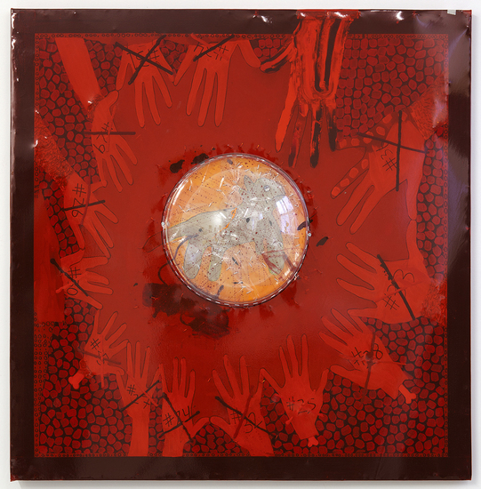 MIKE SHULTIS The 100 (2013-14) Oil, Acrylic, Staples, Plexiglass and Vinyl on Found Wood