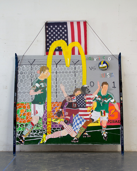 MIKE SHULTIS Champs (2014) Oil, Acrylic, Ink, Astroturf, Bed Sheet, String, Wood, Photo Transparency, Found Ski's and American Flag