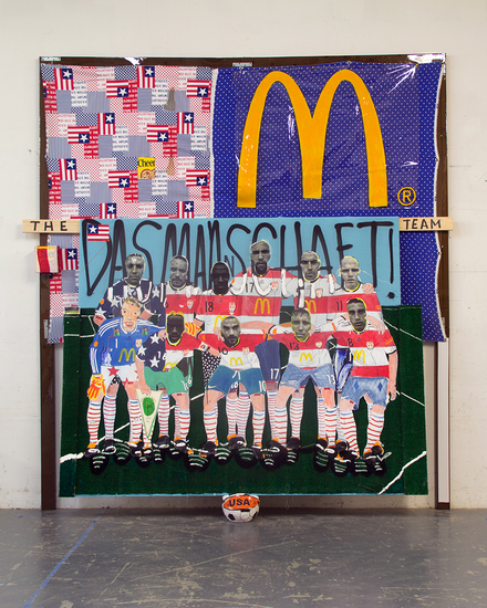 MIKE SHULTIS Champs (2014) Oil, Acrylic, Ink, Enamel, Fabric, Vinyl, Wood, Cheerios Boxes, Photo Transparency, Bed Sheet and Basketball Stuffed With Old Clothes