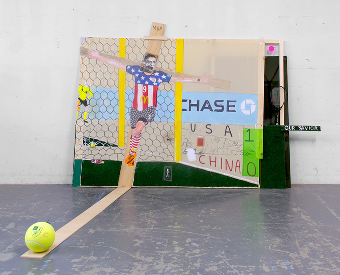 MIKE SHULTIS Champs (2014) Oil, Acrylic, Ink, Silver Leaf, Astroturf, Vinyl, Bed Sheet, Photo Transparency, Wood, Tennis Ball, Tennis Racket and Found Heineken Promotional Over Sized Tennis Ball