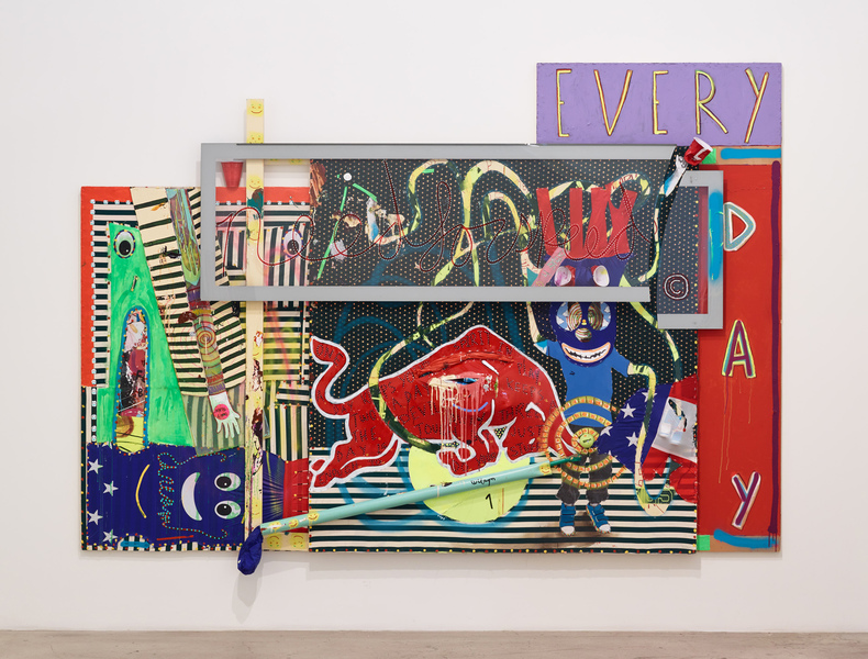 MIKE SHULTIS All American (2015-16) Oil, acrylic, latex, wood, staples, Dixie Cups, tennis ball,  fabric, Coroplast, AirDancer, Red Bull cans, spray paint,  vinyl, ink, black and white inkjet print, cardboard tube,  and plexiglass on panel, disposed Frank Stella crate,  posed Gerhard Richter crate