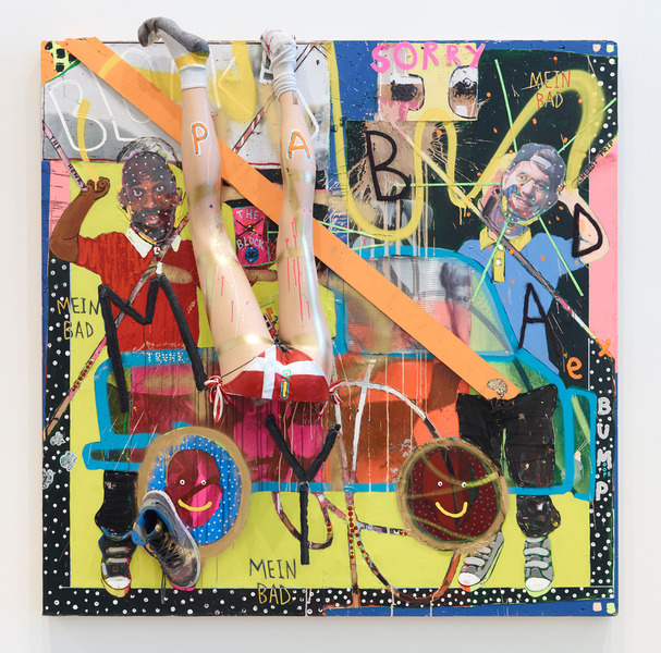 MIKE SHULTIS All American (2015-16) Oil, acrylic, latex, wood, vinyl, spray paint, Coroplast,  glitter, my old shoe, mannequin legs, bikini bottom,  paper and staples on disposed Anish Kapoor crate