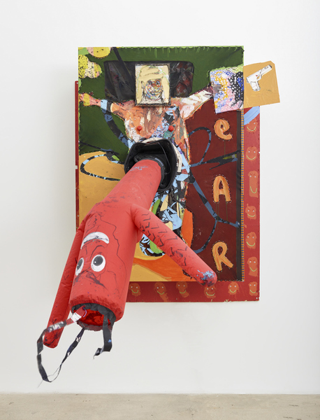 MIKE SHULTIS All American (2015-16) Oil, acrylic, latex, fabric, canvas, staples, vinyl, bed sheet,  plexiglass, foam, oil-based clay, screw, trash can,  inflatable AirDancer, disposed Frank Stella crate and disposed Jeff Wall crate