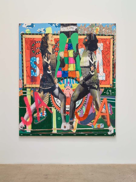 MIKE SHULTIS All American (2015-16) Oil, acrylic, Astroturf, staples, lenticular, shower curtain,   photo print, ink and vinyl on disposed Frank Stella crate