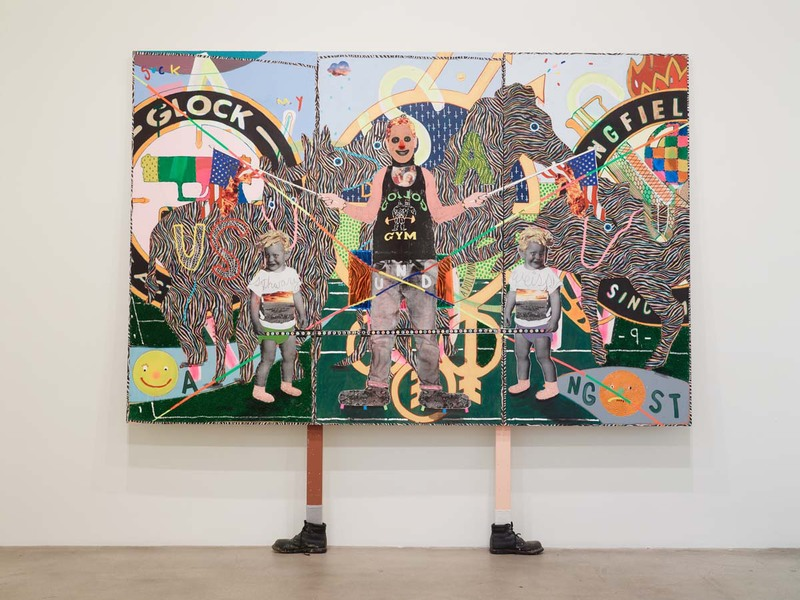 MIKE SHULTIS All American (2015-16) Oil, acrylic, Astroturf, staples, lenticular, clown nose, vinyl, ink,  photo print, and cotton sheet on disposed Gerhard Richter crate
