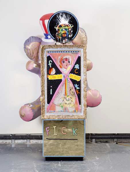 MIKE SHULTIS Funny Money (2016-17) Mixed Media and 8' Inflatable Elephant on Plexiglass Pedestals and Found Bonnard Frame