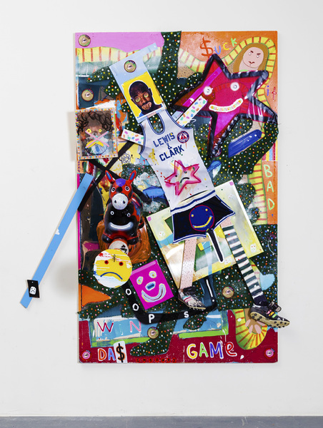 MIKE SHULTIS Funny Money (2016-17) Mixed Media and MOMA Cone on Panel