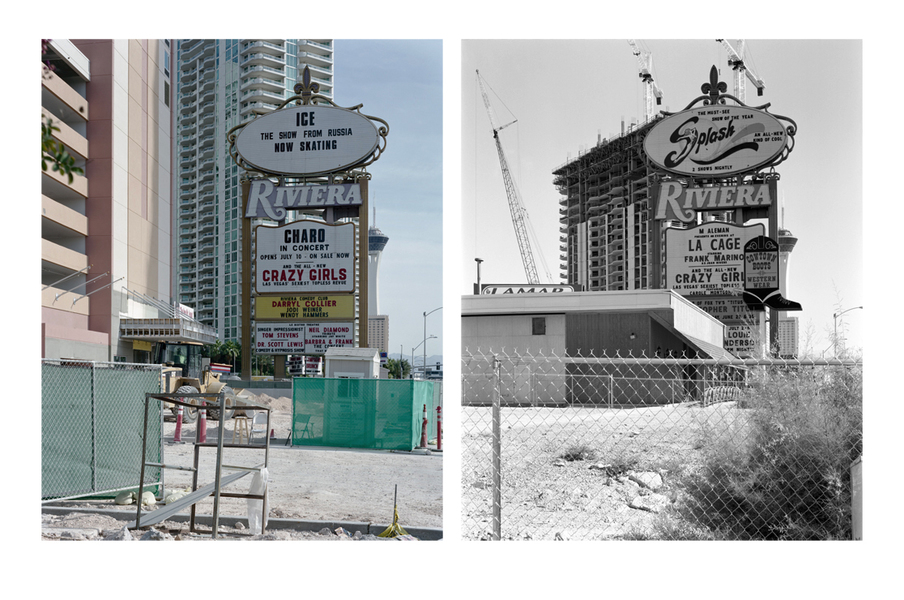 Las Vegas Paradise at Riviera, Las Vegas, 2009 (left) and 2001 (right)