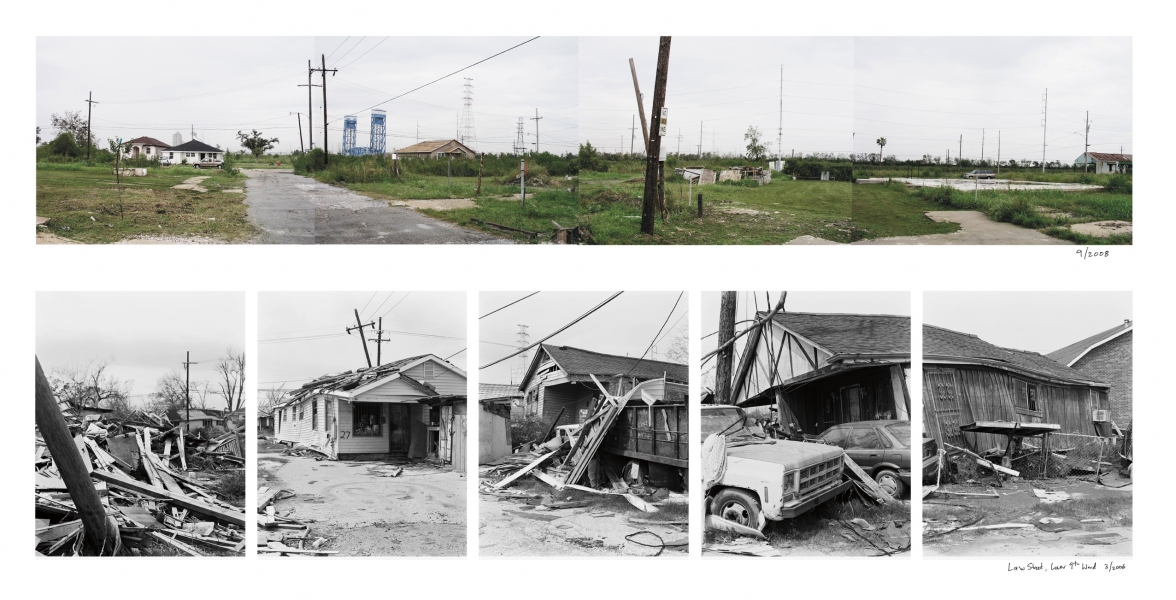 New Orleans Law Street, Lower 9th Ward, New Orleans, 2008 (above) and 2006 (below)