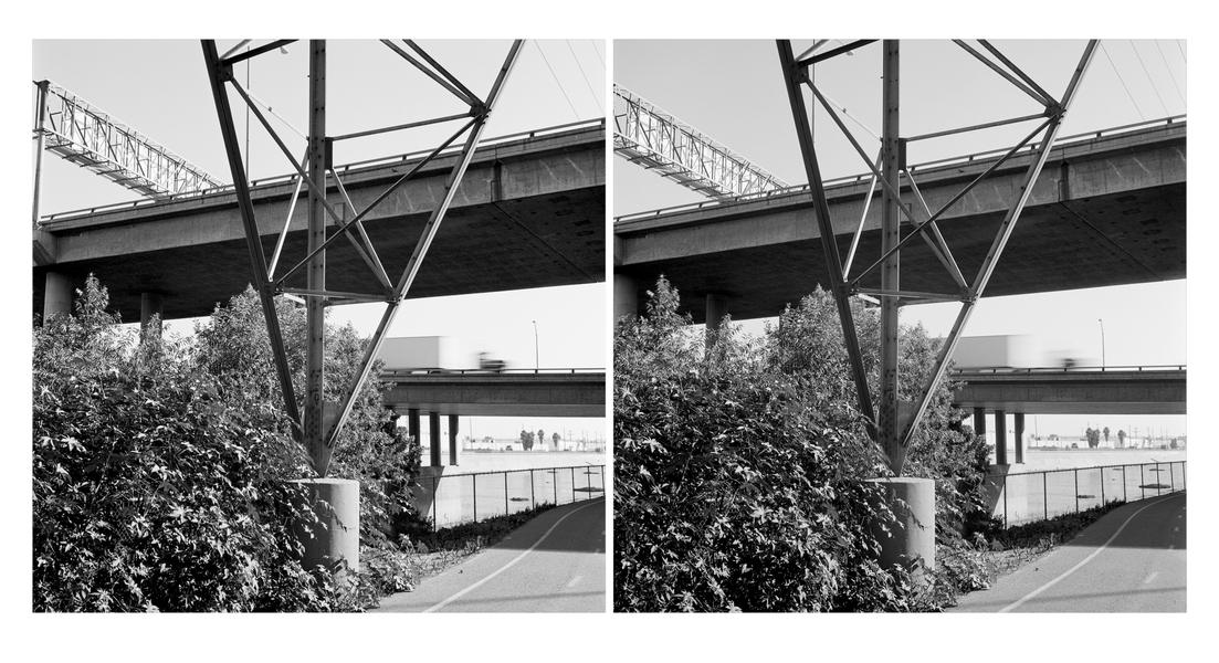 Stereo Pairs Overpass and Cable Support Tower, Los Angeles River (CA)
