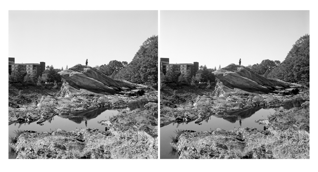 Stereo Pairs Figure on Rock, Great Falls, Auburn, Androscoggin River (ME)
