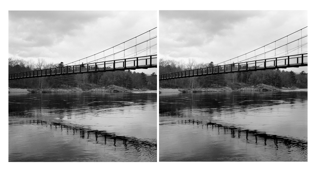 Stereo Pairs Swinging Bridge, Brunswick, Androscoggin River (ME)