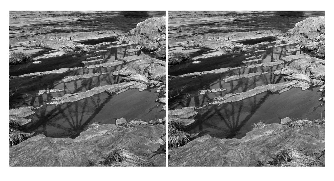 Stereo Pairs Bridge Reflection, Brunswick, Androscoggin River (ME), 2013