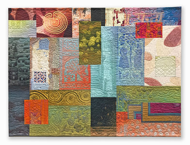 Michael James Studio Quilts India Through Beginner's Eyes constructed textile (machine stitched); cotton & reactive dyes