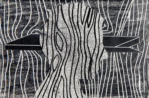 black drawings 2014-2015 China marker and India ink on cut and incised paper collage
