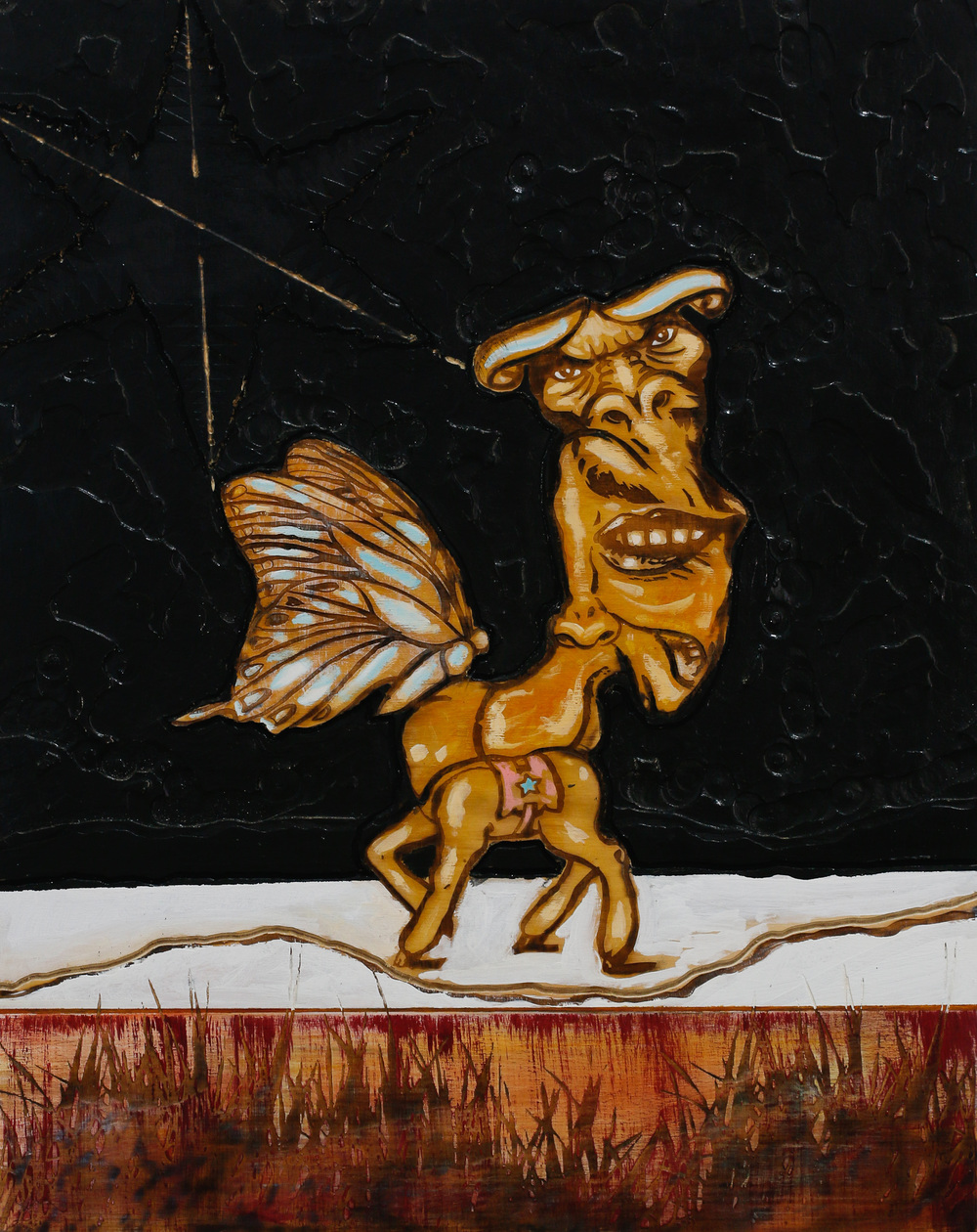 Michael Zansky  Flatland Paintings Carved, burnt, and painted plywood panel