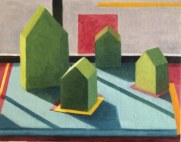 MICHELE BONDURANT Tiny Houses oil on linen