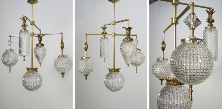 Michelle James NYC  BRILLIANT 5 GLOBE FIXTURE WITH VINTAGE JEWELRY ELEMENTS (NATURAL BRASS FINISH WITH MATTE LACQUER), 2015<br/>