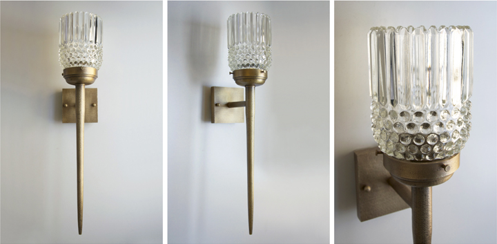 Michelle James NYC  BRUTALIST WALL SCONCE (HAMMERED, ANTIQUE BRASS FINISH), 2015<br/>