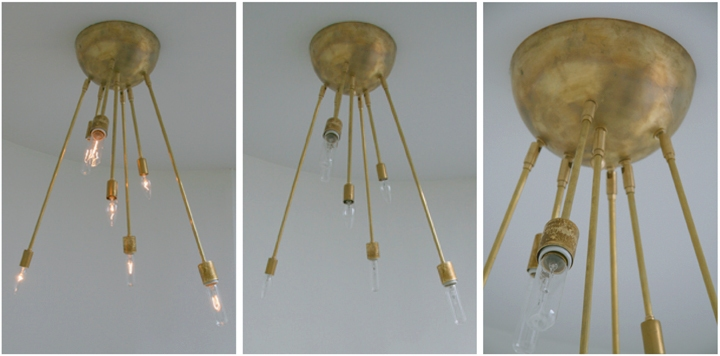 Michelle James NYC  AXIS 7 ARM FIXTURE (NATURAL BRASS FINISH), 2010<br/>