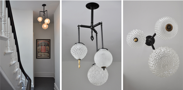 Michelle James NYC  BRILLIANT 3 GLOBE FIXTURE WITH VINTAGE BRASS ELEMENTS (BLACKENED BRASS FINISH), 2010<br/>