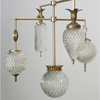 Michelle James NYC  <br/>MATERIALS:  brass, UL listed electrical components, 5 vintage glass globes, vintage jewelry elements<br/>