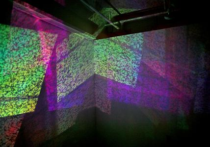 Michelle Anne Holman Visual Snow Storm // Installations  TV, projected video, iridescent plexiglas and mirrors