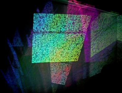 Michelle Anne Holman Visual Snow Storm // Installations 2016-2017  TV, projected video, iridescent plexiglas and mirrors