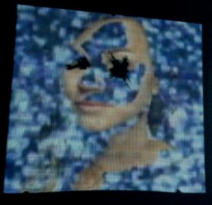 Michelle Anne Holman Visual Snow Storm // Installations  Video projection, oil paint and mirrors