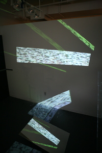 Michelle Anne Holman Visual Snow Storm // Installations  Video projection, mirrors, glass shelves