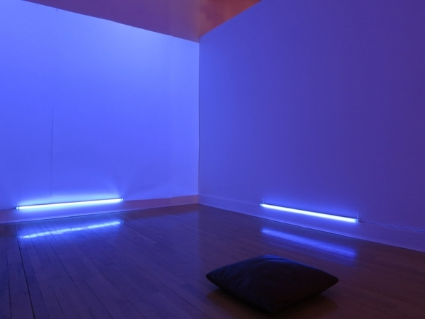 Awakening: Sound Installation SoundScape-26.20 minutes, Fluorescent Lights, Speakers, CD Player, pillows
