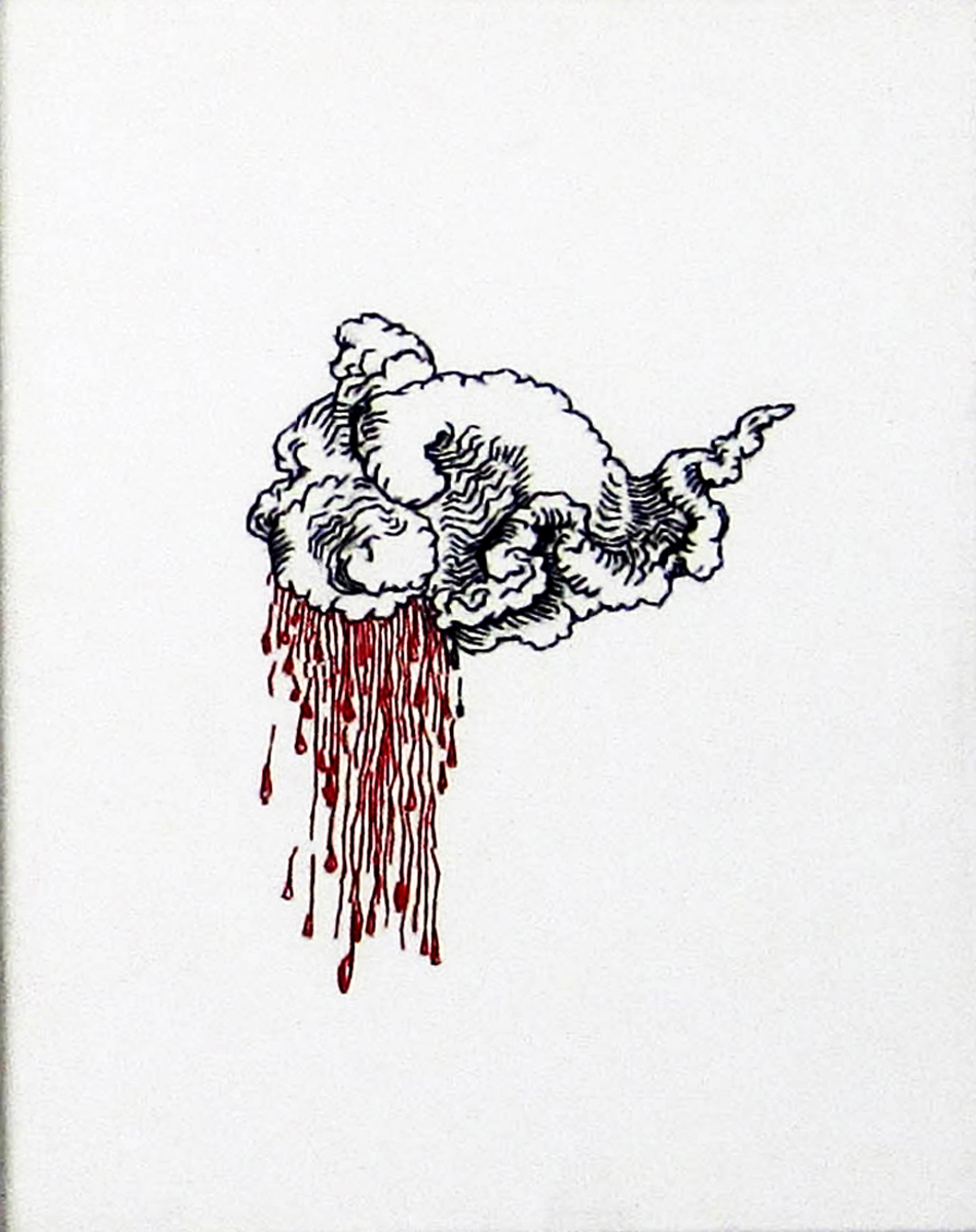 Embroidery: Dollar bills & Blood Clouds  - 2004 to 2009 Blood Cloud, Right