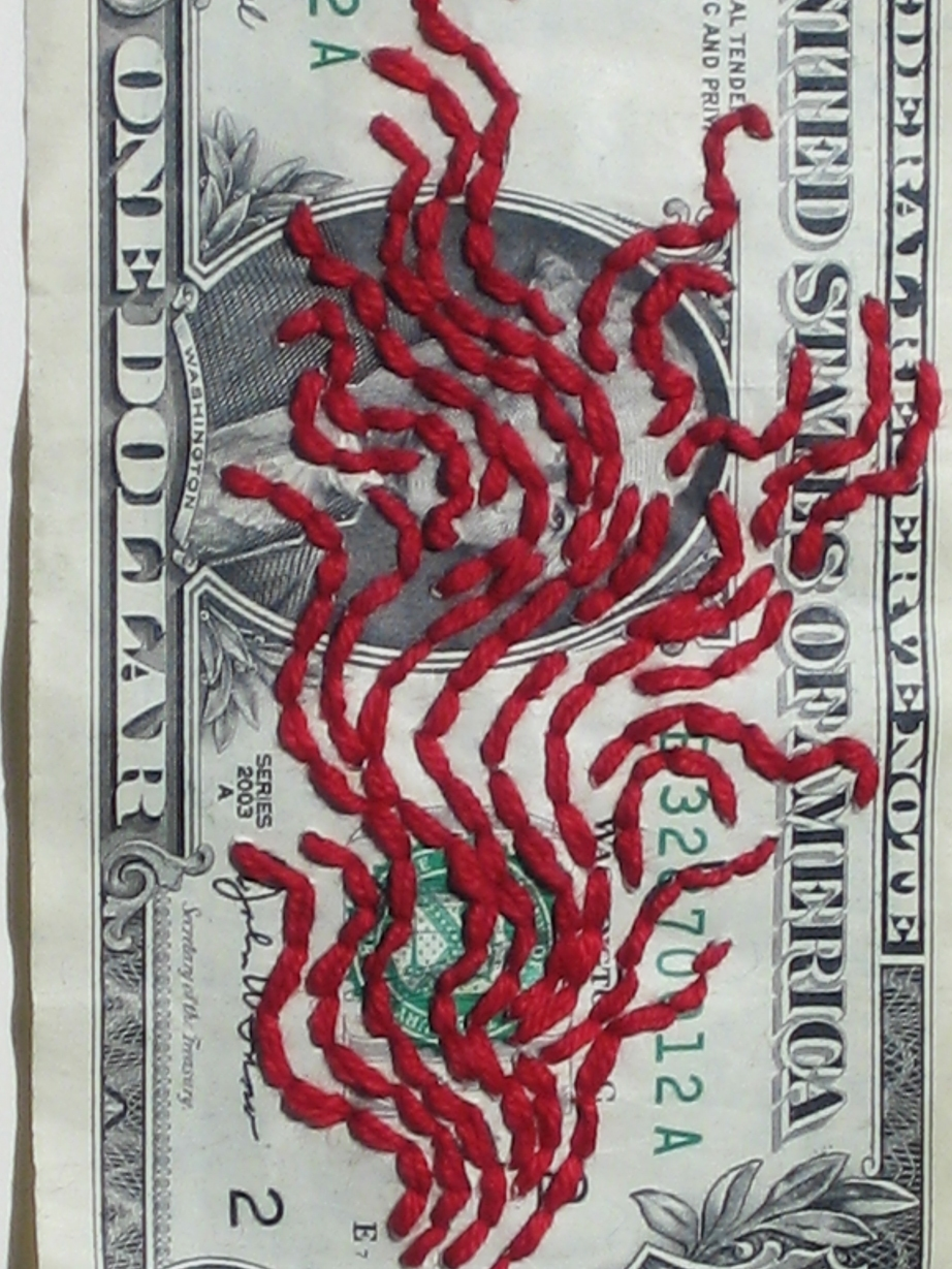 Embroidery: Dollar bills & Blood Clouds  - 2004 to 2009 dollar, detail