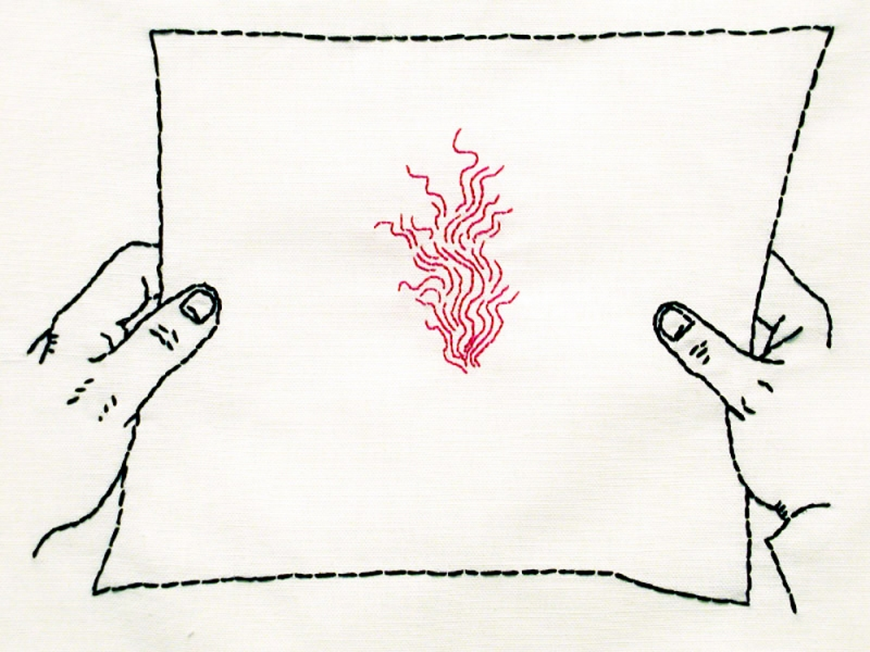 Embroidery: Notes -  2005 Note, flame